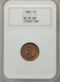 Indian Cents: , 1882 1C MS65 Red and Brown NGC. NGC Census: (107/14). PCGSPopulation (72/0). Mintage: 38,581,100. Numismedia Wsl. Price fo...