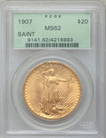 Saint-Gaudens Double Eagles: , 1907 $20 Arabic Numerals MS62 PCGS. PCGS Population (2355/10513).NGC Census: (3141/5566). Mintage: 361,667. Numismedia Wsl...