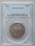 Bust Quarters: , 1822 25C VG8 PCGS. PCGS Population (12/140). NGC Census: (1/93). Mintage: 64,080. Numismedia Wsl. Price for problem free NG...