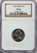 Proof Jefferson Nickels: , 1942 5C Type One PR66 NGC. NGC Census: (752/299). PCGS Population(1317/333). Mintage: 29,600. Numismedia Wsl. Price for pr...