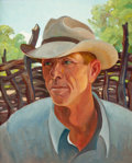 American:Portrait & Genre, OLIN TRAVIS (American, 1888-1975). Cowboy. Oil on canvas. 20x 16 inches (50.8 x 40.6 cm). Artist's stamp verso. The C...