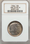 Commemorative Silver: , 1936 50C Long Island MS66 NGC. NGC Census: (329/58). PCGSPopulation (414/38). Mintage: 81,826. Numismedia Wsl. Price forp...