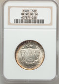 Commemorative Silver: , 1920 50C Maine MS66 NGC. NGC Census: (281/29). PCGS Population(395/20). Mintage: 50,028. Numismedia Wsl. Price for problem...