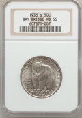 Commemorative Silver: , 1936-S 50C Bay Bridge MS66 NGC. NGC Census: (576/91). PCGSPopulation (784/136). Mintage: 71,424. Numismedia Wsl. Price for...
