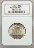 Commemorative Silver: , 1936 50C Delaware MS65 NGC. NGC Census: (1069/566). PCGS Population(1374/735). Mintage: 20,993. Numismedia Wsl. Price for ...