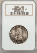 Commemorative Silver: , 1925 50C Vancouver MS66 NGC. NGC Census: (259/40). PCGS Population(291/44). Mintage: 14,994. Numismedia Wsl. Price for pro...