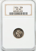 Proof Three Cent Nickels: , 1874 3CN PR65 NGC. NGC Census: (98/27). PCGS Population (85/22).Mintage: 700. Numismedia Wsl. Price for problem free NGC/P...