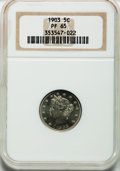 Proof Liberty Nickels: , 1903 5C PR65 NGC. NGC Census: (122/130). PCGS Population (137/83).Mintage: 1,790. Numismedia Wsl. Price for problem free N...