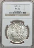 Morgan Dollars: , 1883-O $1 MS66 NGC. NGC Census: (999/32). PCGS Population (688/35).Mintage: 8,725,000. Numismedia Wsl. Price for problem f...