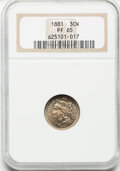 Proof Three Cent Nickels: , 1881 3CN PR65 NGC. NGC Census: (288/299). PCGS Population(329/309). Mintage: 3,575. Numismedia Wsl. Price for problemfree...