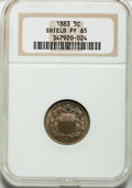 Proof Shield Nickels: , 1883 5C PR65 NGC. NGC Census: (357/269). PCGS Population (409/215).Mintage: 5,419. Numismedia Wsl. Price for problem free ...