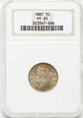 Proof Liberty Nickels: , 1887 5C PR65 NGC. NGC Census: (170/48). PCGS Population (135/52).Mintage: 2,960. Numismedia Wsl. Price for problem free NG...
