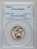 Jefferson Nickels: , 1942-D 5C MS66 Full Steps PCGS. PCGS Population (536/45). NGCCensus: (97/20). Numismedia Wsl. Price for problem free NGC/...