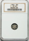Proof Three Cent Silver: , 1862 3CS PR63 NGC. NGC Census: (29/95). PCGS Population (55/97).Mintage: 550. Numismedia Wsl. Price for problem free NGC/P...
