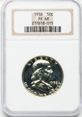 Proof Franklin Half Dollars: , 1958 50C PR68 NGC. NGC Census: (1004/68). PCGS Population (212/4).Mintage: 875,652. Numismedia Wsl. Price for problem free...