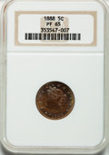 Proof Liberty Nickels: , 1888 5C PR65 NGC. NGC Census: (250/99). PCGS Population (183/76).Mintage: 4,582. Numismedia Wsl. Price for problem free NG...