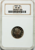 Proof Liberty Nickels: , 1907 5C PR66 NGC. NGC Census: (68/6). PCGS Population (34/8).Mintage: 1,475. Numismedia Wsl. Price for problem free NGC/PC...