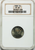 Proof Liberty Nickels: , 1889 5C PR65 NGC. NGC Census: (203/99). PCGS Population (214/88).Mintage: 3,336. Numismedia Wsl. Price for problem free NG...