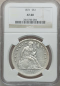 Seated Dollars: , 1871 $1 XF40 NGC. NGC Census: (43/441). PCGS Population (95/548).Mintage: 1,074,760. Numismedia Wsl. Price for problem fre...