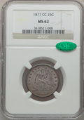 Seated Quarters: , 1877-CC 25C MS62 NGC. CAC. NGC Census: (59/235). PCGS Population(79/258). Mintage: 4,192,000. Numismedia Wsl. Price for pr...