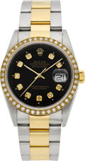 Timepieces:Wristwatch, Rolex Ref. 16263 Gent's Two Tone Datejust With Diamonds, circa 2001. ...