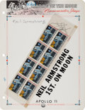"""Autographs:Celebrities, Neil Armstrong Signed Block of Eight """"First Man on the Moon""""Stamps...."""