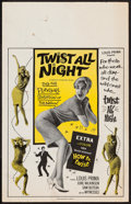 "Movie Posters:Rock and Roll, Twist All Night (American International, 1962). Window Card (14"" X22"") Benton Card Style. Rock and Roll.. ..."