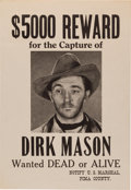 "Movie/TV Memorabilia:Props, A Robert Mitchum Prop 'Wanted' Poster from ""Colt Comrades.""..."