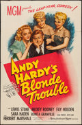 "Movie Posters:Comedy, Andy Hardy's Blonde Trouble (MGM, 1944). One Sheet (27"" X 41""). Comedy.. ..."