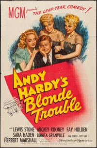 """Andy Hardy's Blonde Trouble (MGM, 1944). One Sheet (27"""" X 41""""). Comedy"""
