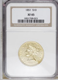 Liberty Eagles: , 1851 $10 XF45 NGC. NGC Census: (49/142). PCGS Population (29/49).Mintage: 176,328. Numismedia Wsl. Price: $460. (#8606)...