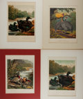 Books:Prints & Leaves, [Poultry]. Group of Four 19th Century Color Prints. Approx. 10.75 x8 inches. Matted. Very good....