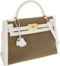 Luxury Accessories:Bags, Hermes 32cm White Calf Box Leather & Olive Toile Sellier KellyBag with Gold Hardware. ...