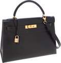 Luxury Accessories:Bags, Hermes 32cm Black Calf Box Leather Sellier Kelly Bag with ShootingStar & Gold Hardware. ...