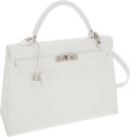 Luxury Accessories:Bags, Hermes 32cm White Togo Leather Sellier Kelly Bag with PalladiumHardware. ...