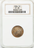 Proof Liberty Nickels: , 1896 5C PR65 NGC. NGC Census: (95/47). PCGS Population (74/21).Mintage: 1,862. Numismedia Wsl. Price for problem free NGC/...