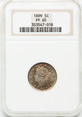 Proof Liberty Nickels: , 1899 5C PR65 NGC. NGC Census: (159/92). PCGS Population (154/72).Mintage: 2,031. Numismedia Wsl. Price for problem free NG...