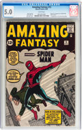 Silver Age (1956-1969):Superhero, Amazing Fantasy #15 (Marvel, 1962) CGC VG/FN 5.0 White pages....