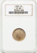 Proof Liberty Nickels: , 1905 5C PR66 NGC. NGC Census: (57/25). PCGS Population (38/10).Mintage: 2,152. Numismedia Wsl. Price for problem free NGC/...