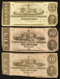 Confederate Notes:1862 Issues, Three 1862 Notes.. ... (Total: 3 notes)