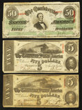 Confederate Notes:1863 Issues, Three 1863 Notes.. ... (Total: 3 notes)