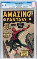 Silver Age (1956-1969):Superhero, Amazing Fantasy #15 UK Edition (Marvel, 1962) CGC FN+ 6.5 Cream tooff-white pages....
