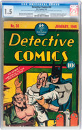 Golden Age (1938-1955):Superhero, Detective Comics #35 (DC, 1940) CGC FR/GD 1.5 Off-white to white pages....