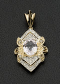 Estate Jewelry:Pendants and Lockets, Diamond & Kunzite Gold Pendant. ...
