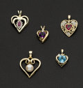 Estate Jewelry:Pendants and Lockets, Five Gold Gem Set Heart Pendants. ... (Total: 5 Items)