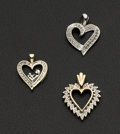 Estate Jewelry:Pendants and Lockets, Three Diamond & Gold Heart Pendants. ... (Total: 3 Items)
