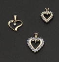 Estate Jewelry:Pendants and Lockets, Three Gold Heart Pendants. ... (Total: 3 Items)