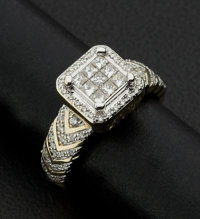 Lady's Ring With Invisible Set Princess Cut Diamonds