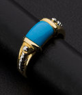 Estate Jewelry:Rings, Lady's Two Tone Gold Turquoise Ring. ...