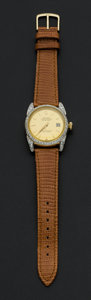 Timepieces:Wristwatch, Rolex Ref. 4467 18k Gold Oyster Perpetual Datejust With Diamonds,circa 1950's. ...